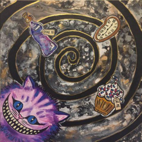 Spiral in Wonderland, 2018, akryl, 60x60cm