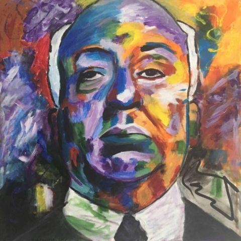 Alfred Hitchcock, 2017, akryl, 60x60cm, reprodukcia
