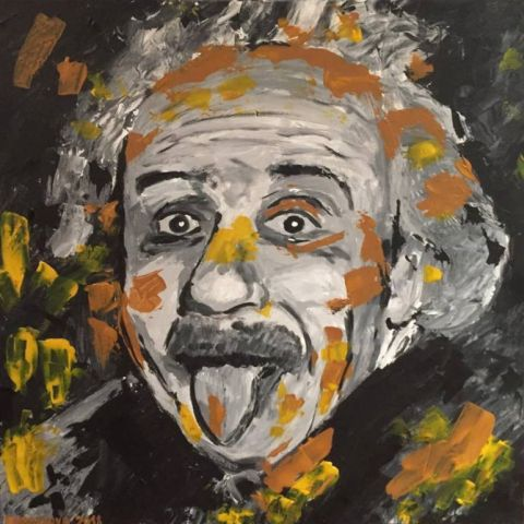 Albert Einstein, 2018, akryl, 60x60cm, reprodukcia