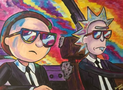 Rick a Morty - Men in Black, 2018, akryl, 50x70cm
